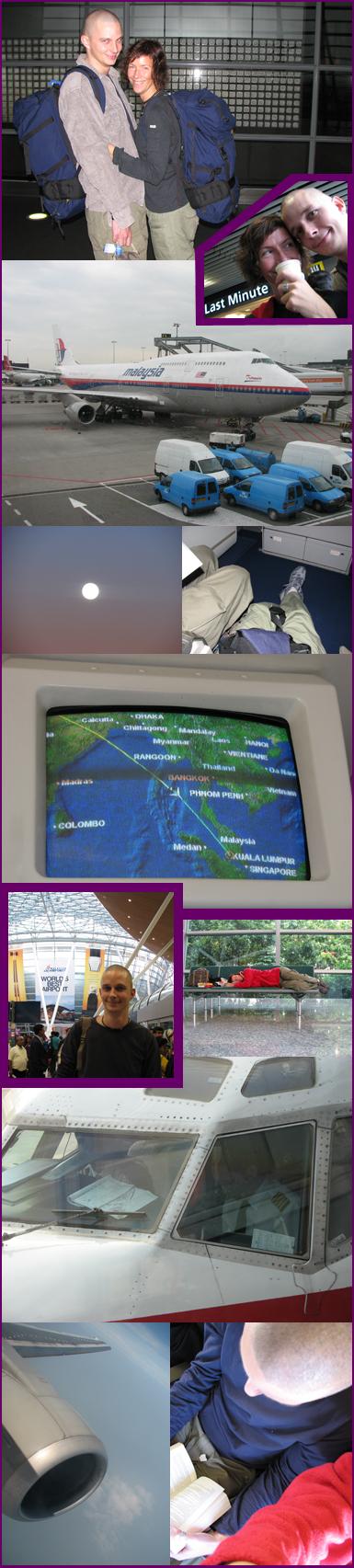 Naar 't vliegveld - 1 uur - van Schiphol naar Kuala Lumpur - 11 uur - wachten op Kuala Lumpur - 3 uur - van Kuala Lumpur naar Phnom Penh - 2,5 uur - dingen regelen op 't vliegveld en naar 't centrum van Phnom Penh - 2 uur -